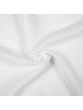 Double Gaze de Coton Uni Blanc
