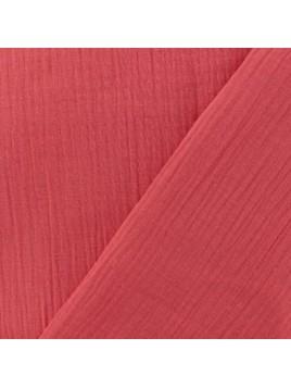 Double Gaze de Coton Uni Rouge